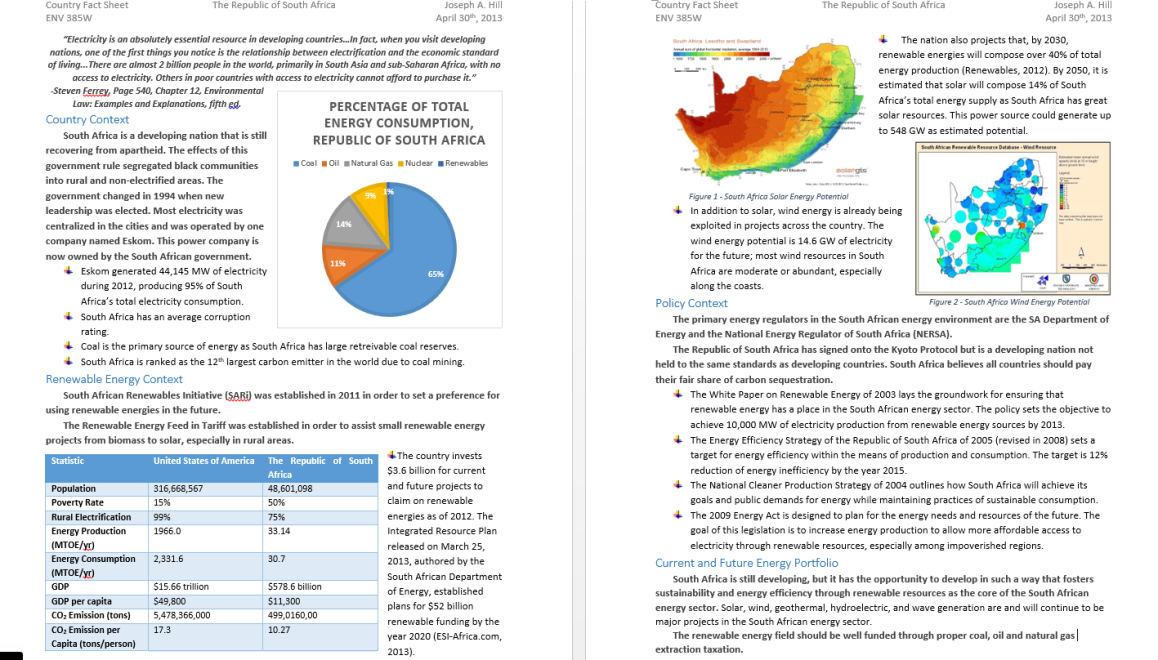 ENV 385Writing - Energy, Resources and Policy - Final: Fact Sheet, South Africa Energy Portfolio