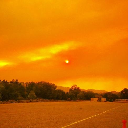 The smoke turned everything orange.